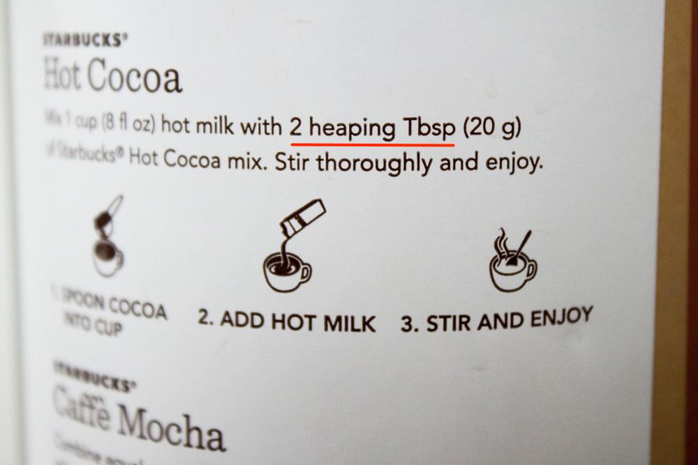 ココアの作り方に書いてあった 2 heaping tbsp の意味とは