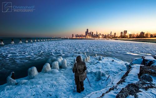 city winter sunset snow chicago ice skyline nikon photographer tripod fullerton hdr d700