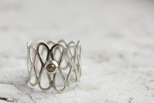 Rose Cut Diamond and Silver Filigree ring