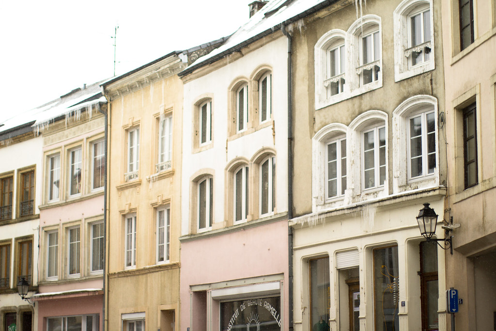 pastel buildings in Arlon, Belgium