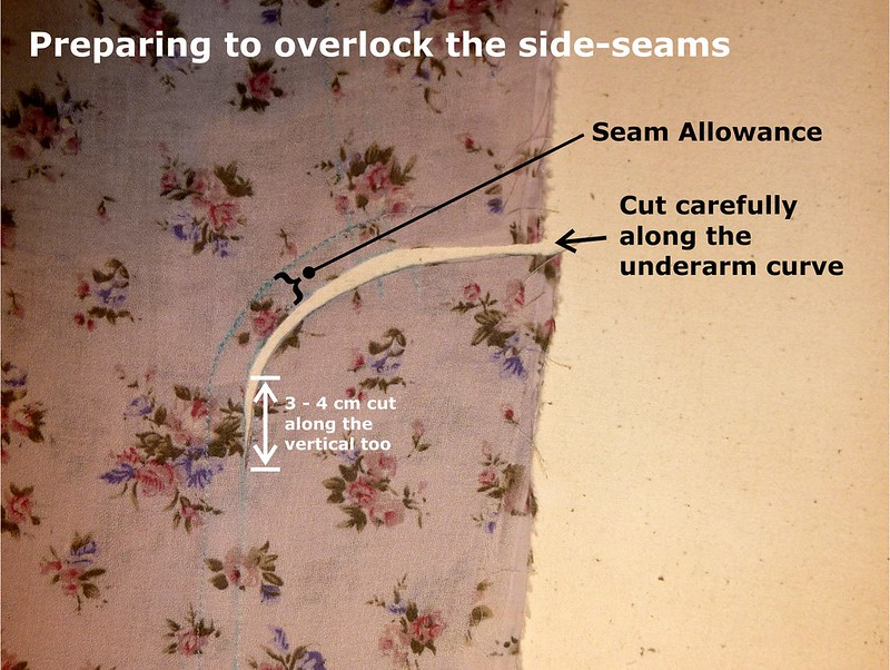 Preparing to overlock the side-seams