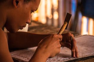 Monk Doing Silver Work at Wat Sri Suphan, Chiang Mai