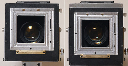 Optical axis adjustment of the Linhof board