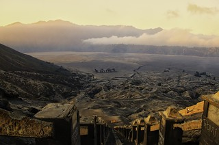 View from the top of the Bromo Vulcano on Jawe Indonesia