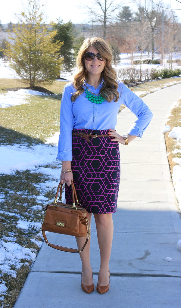 Geometric Pencil Skirt and Green Necklace and chambray blouse work outfit