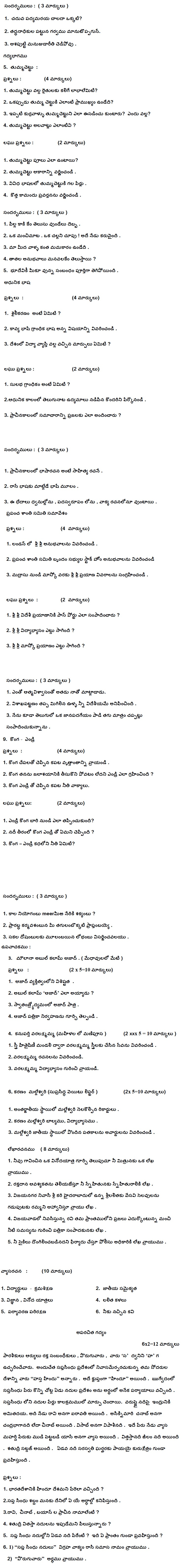 CBSE Class 9 Question Bank - Telugu
