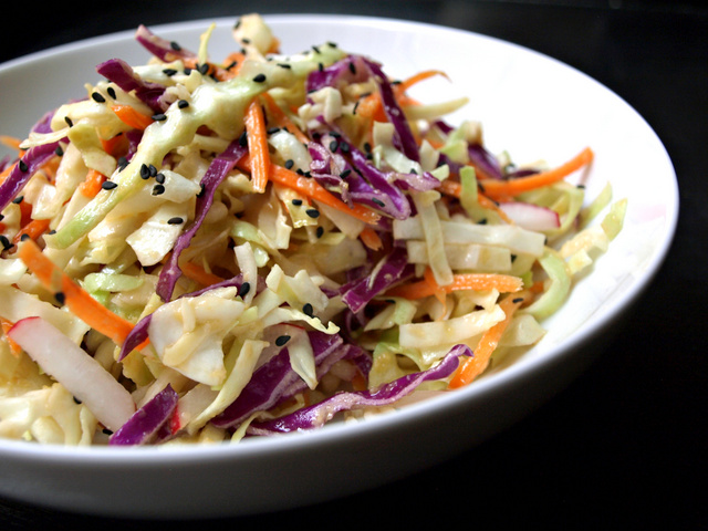 THE SIMPLE VEGANISTA: Asian Slaw Salad + Miso Ginger Dressing