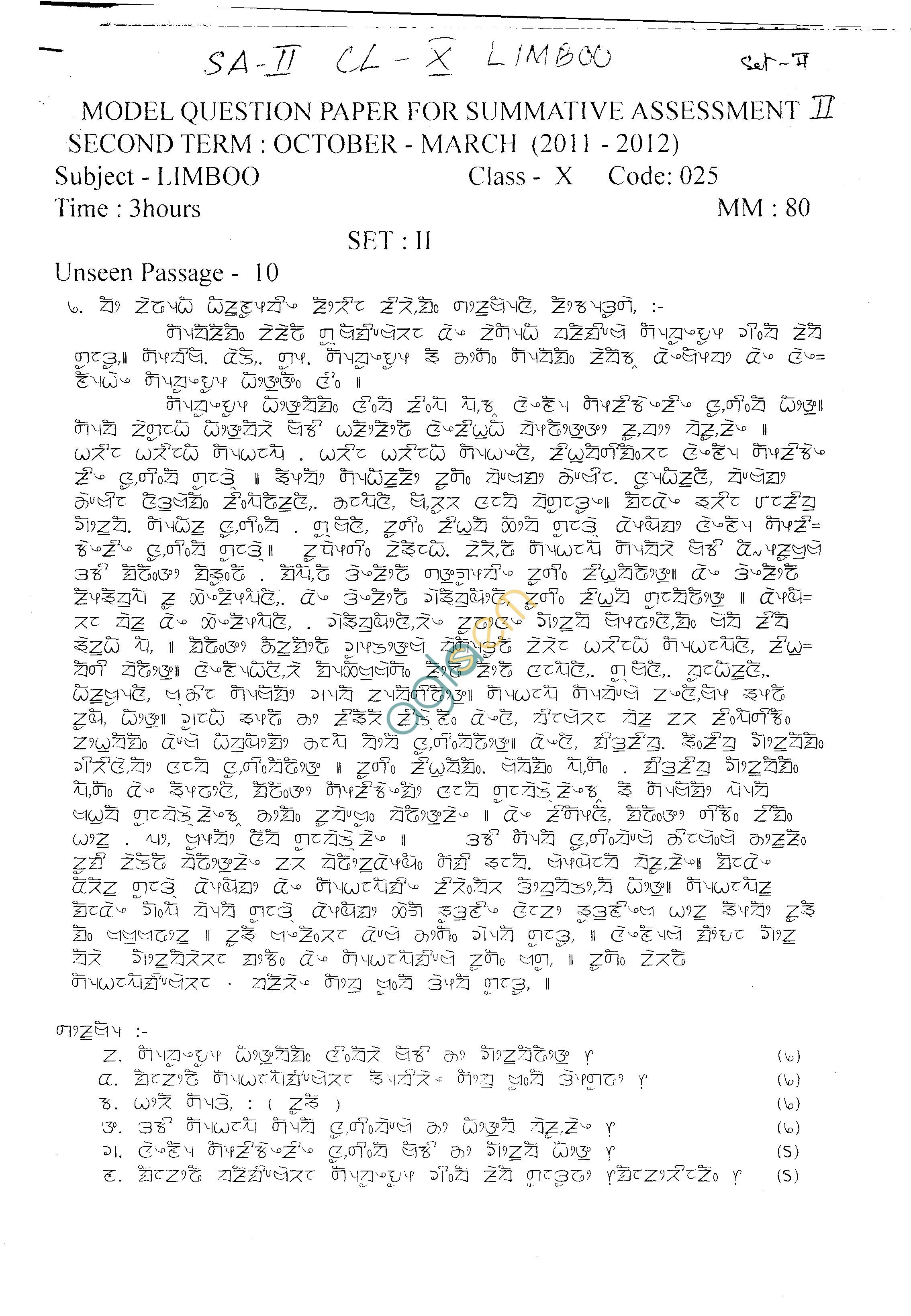 CBSE Class IX & X Sample Papers 2014 (Second Term) Limboo