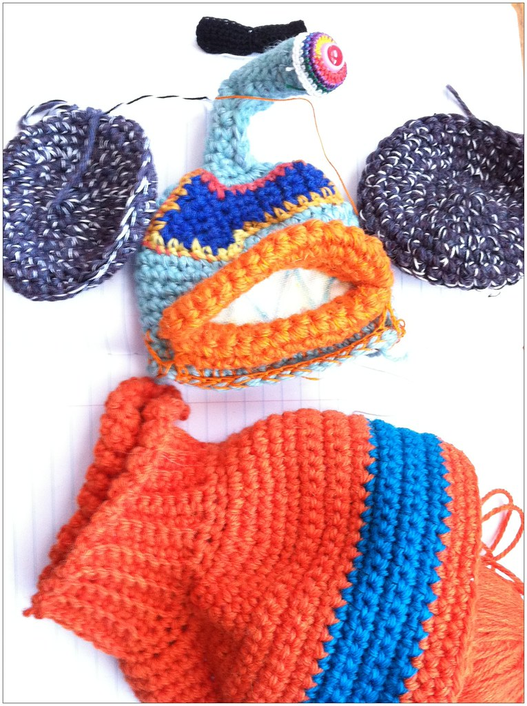 Crochet monster and dog sweater WIP by Knot By Gran'ma
