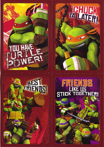 "AMERICAN GREETINGS :: ""NICKELODEON"" TEENAGE MUTANT NINJA TURTLES - VALENTINE STICKER CARDS iv (( 2012 ))"