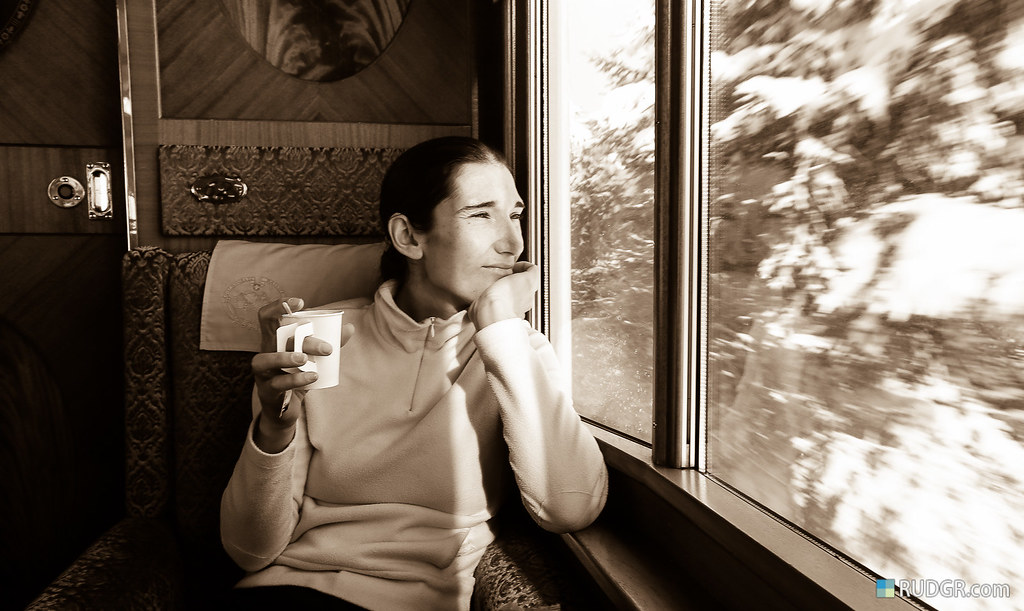 Travelling in the luxureous 1920's first class Golden Pass classic rail car.