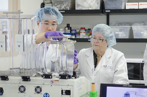 <p>University of Hawaii President M.R.C. Greenwood, right, sees Tissue Genesis laboratory work conducted up close.</p>