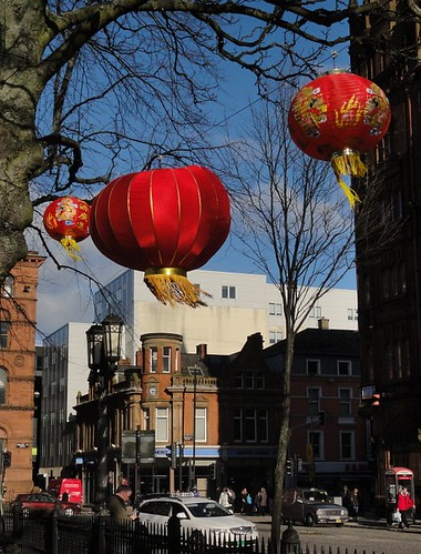Chinese red lanterns outside Belfast City Hall