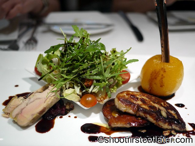 Seared Foie Gras with Asian Pear Confit,  Mesclun Salad & Red Onion Marmalade P1,320 regular portion-001