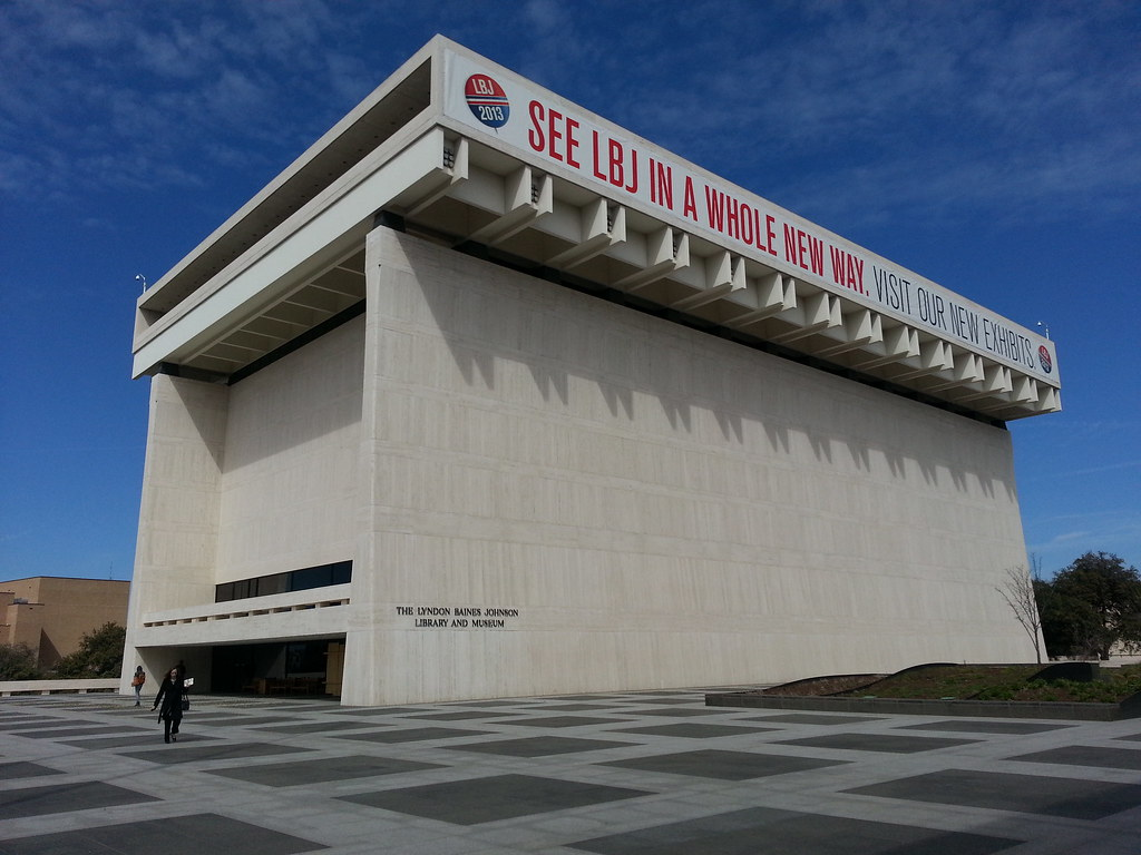The LBJ Library on the campus of UT Austin