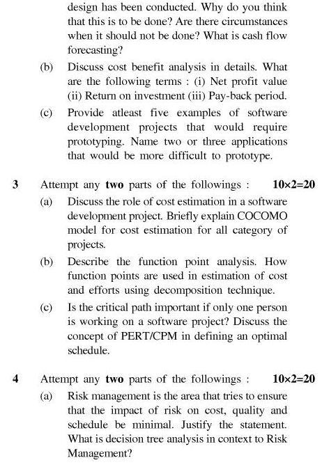 UPTU B.Tech Question Papers - IT-601/TIT-601-Software Project Management