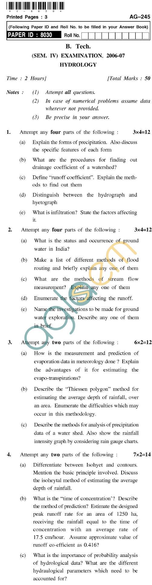 UPTU B.Tech Question Papers - AG-245 - Hydrology