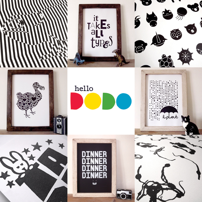 Black-and-White-prints_screenprints_hello_DODO_-great_design