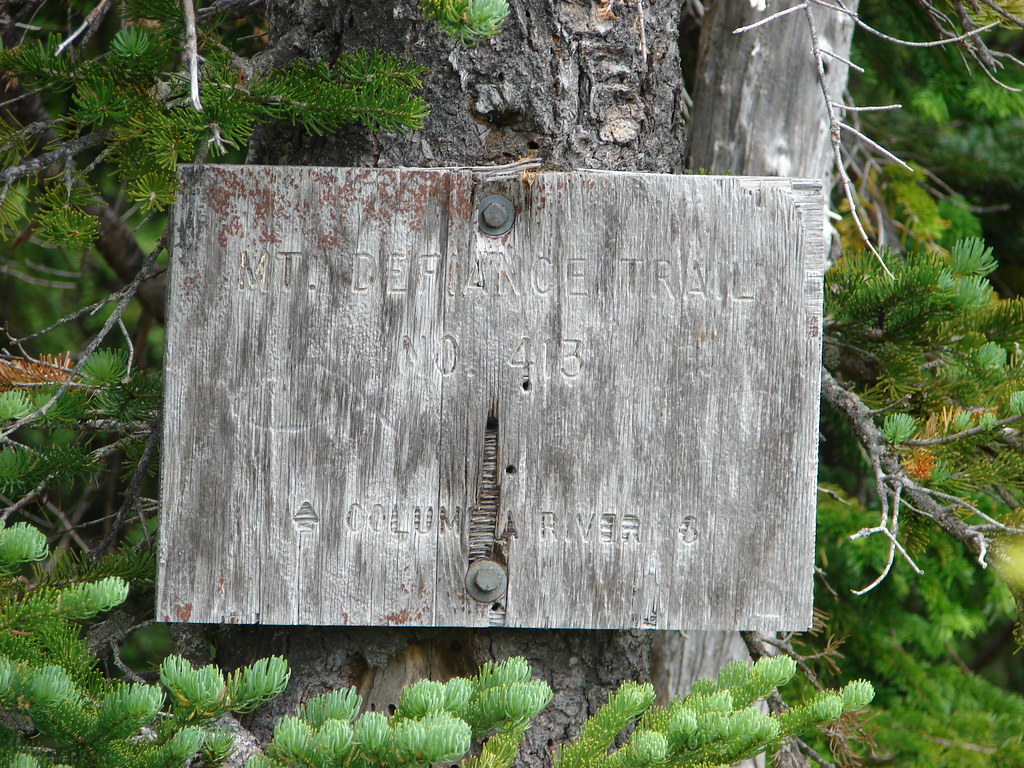 Sign for the Mt. Defiance Trail