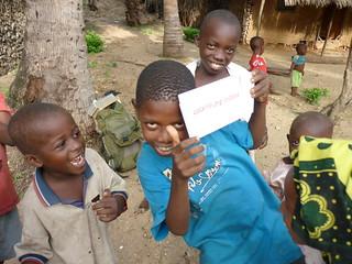 Children with AidPod in Tanzania