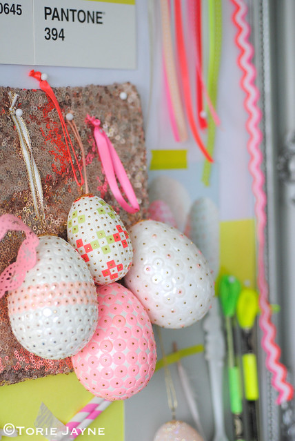 Easter sequin eggs