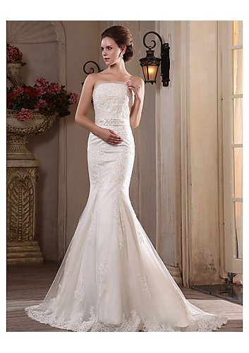 Trumpet/Mermaid Strapless Sweep/Brush Train Tulle Satin Wedding Dress