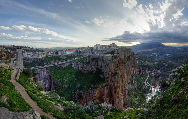 bridges, cliffs, sunset, constantine, algeria