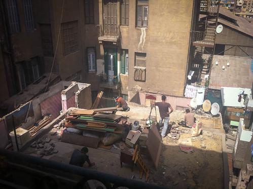 Construction on the roof next door