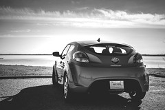automobile, automotive exterior, hyundai, wheel, vehicle, automotive design, monochrome photography, hyundai veloster, bumper, land vehicle, monochrome, black-and-white, coupã©, sports car,