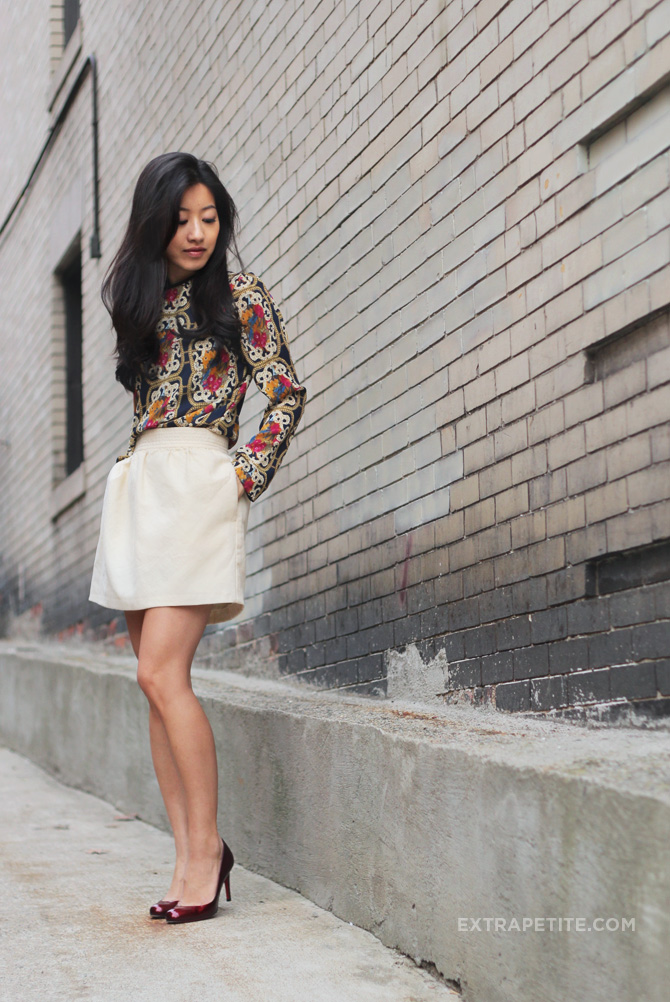 baroque blouse ivory skirt