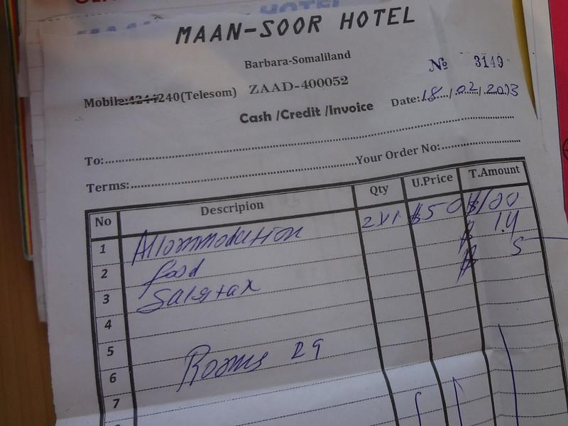 Factura do Hotel Maan-Soor em Berbera