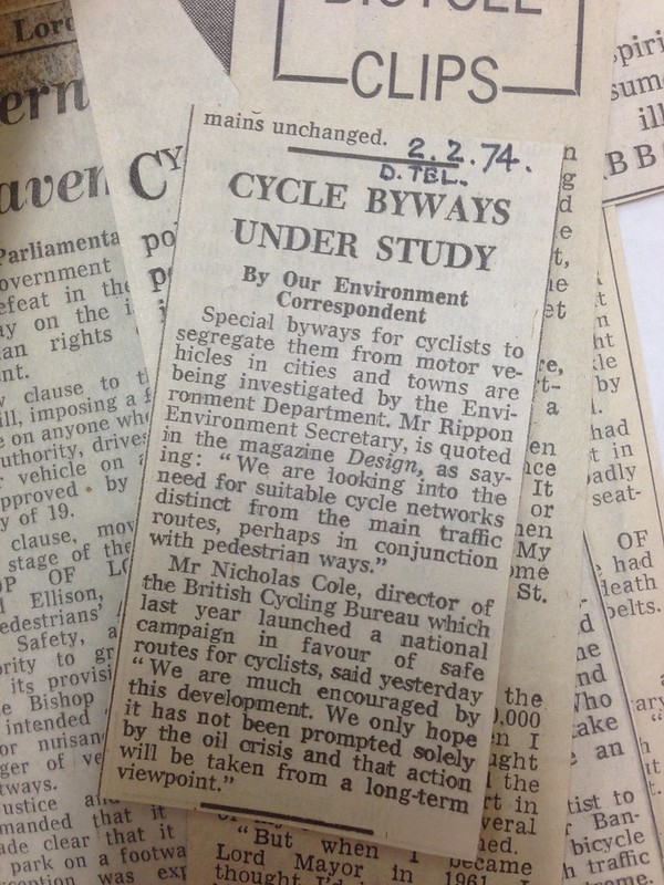 Special byways for cyclists to segregate them from motor vehicles, Daily Telegraph, 1974