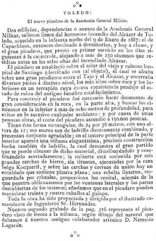 Noticia sobre el picadero militar en la ilustración española y americana