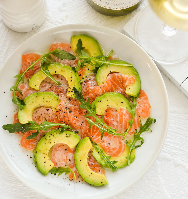salmon carpaccio with avocado