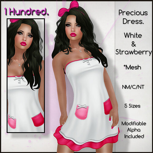 1 Hundred. Precious Dress. White & Stawberry