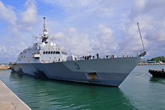 In this file photo, USS Fort Worth (LCS 3) departs Singapore in August. (U.S. Navy/MC3 Madailein Abbott)
