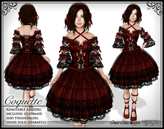 Coquette (Red) Gothic Lolita Dress in Second Life