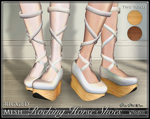 Rocking Horse Shoes from Wishbox in Second Life (White)
