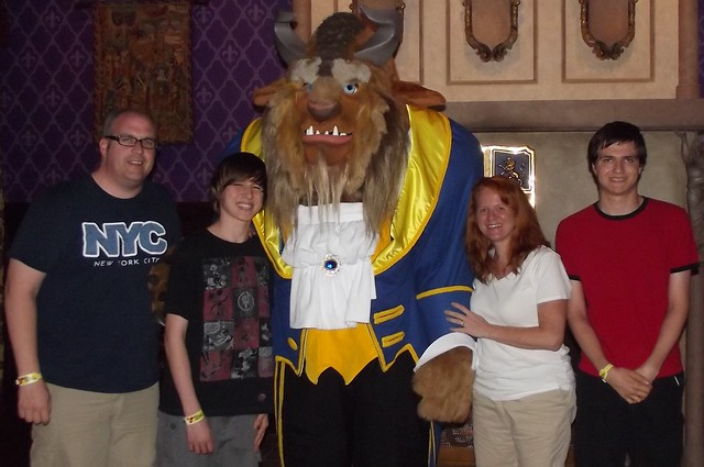 Family with Beast at Be Our Guest Restaurant