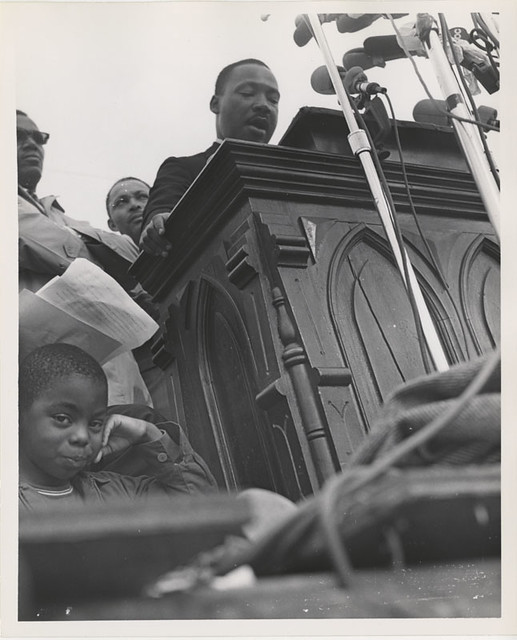 Martin Luther King, Jr. speaking at Montgomery March from Flickr via Wylio