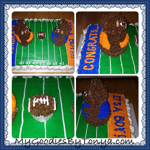 red velvet football themed baby shower cake follow