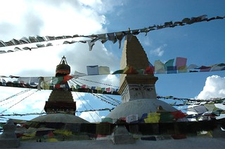 East side of the Great Wish fulfilling chorten, Tibetan Buddhist prayer flags, Boudha, Kathmandu, Nepal