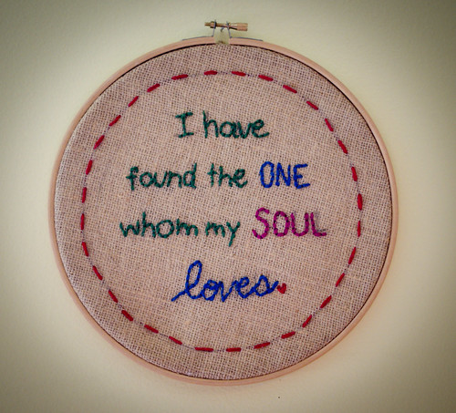 """I have found the one"" embroidery"