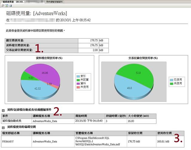 [SQL] 標準報表 - 磁碟使用量-1