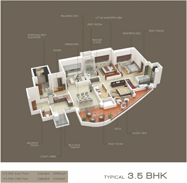 3.5 BHK  - 2088 / 2153 Saleable - Flat at Emirus, Sr. no. 107, Baner Road, Near D' Mart, Baner, Pune- 411 045, Maharashtra, India.