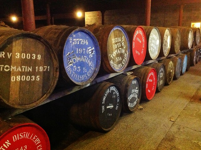 Tomatin distillery whisky barrels