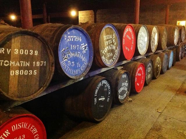 Tomatin distillery whisky barrels