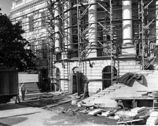 New Steps of the South Portico Being Erected during the White House Renovation, 01/04/1952