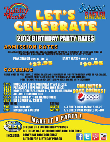 Party Party Packages at Holiday World