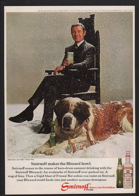 JOHNNY CARSON /& ST BERNARD DOG VINTAGE ADVERTISEMENT 1969 SMIRNOFF Vodka